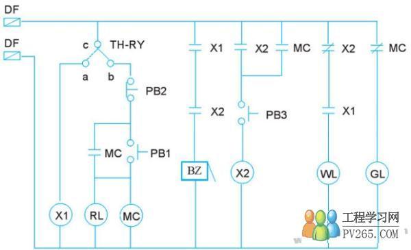 电动机故障警报控制电路 由传统电工图转换为阶梯图的