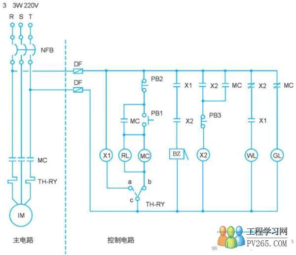 电气自控 电动机故障警报控制电路