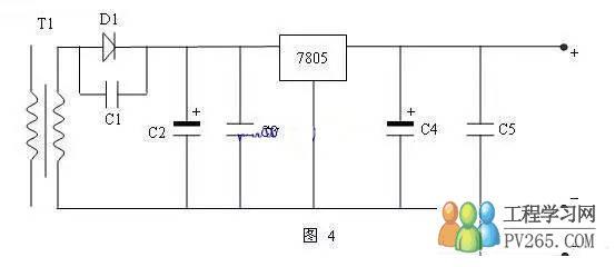 输出整流电路,给5伏电源接上假负载通电进行测量发现三通稳压7805的1