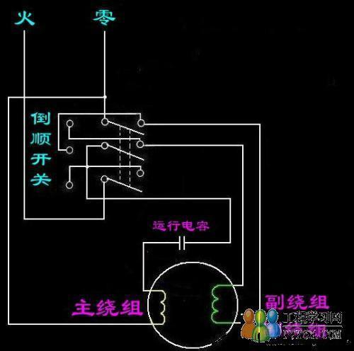 三相倒顺开关控制单相电机线路及实物图