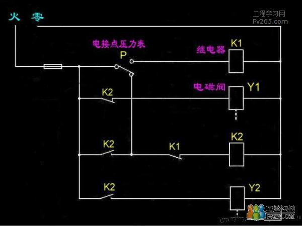 电接点压力表,继电器,电磁阀接线图