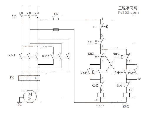 按钮互锁的正反转控制电路动作原理