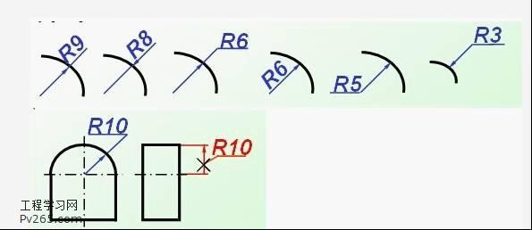 圆弧和弦长尺寸注法:标注弦长尺寸时, 尺寸界线应平行于弦的垂直平分
