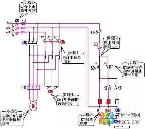 自耦减压启动柜接线图